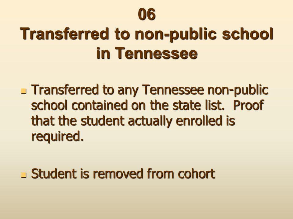 06 Transferred to non-public school in Tennessee