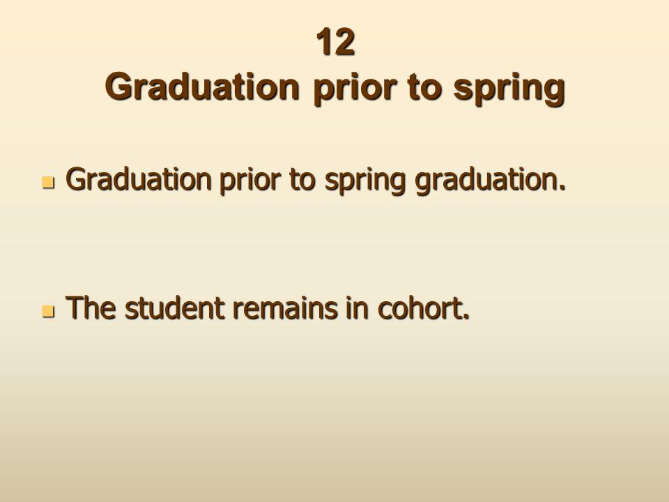 12 Graduation prior to spring