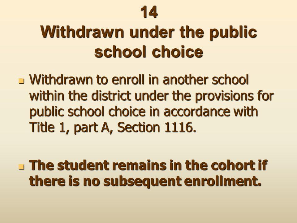 14 Withdrawn under the public school choice