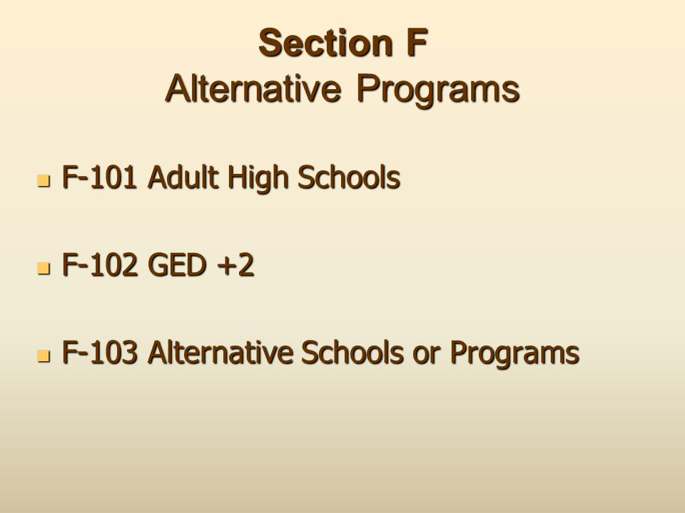 Section F Alternative Programs