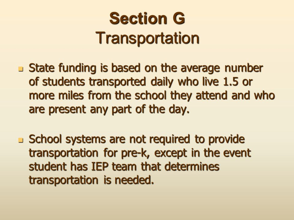 Section G Transportation