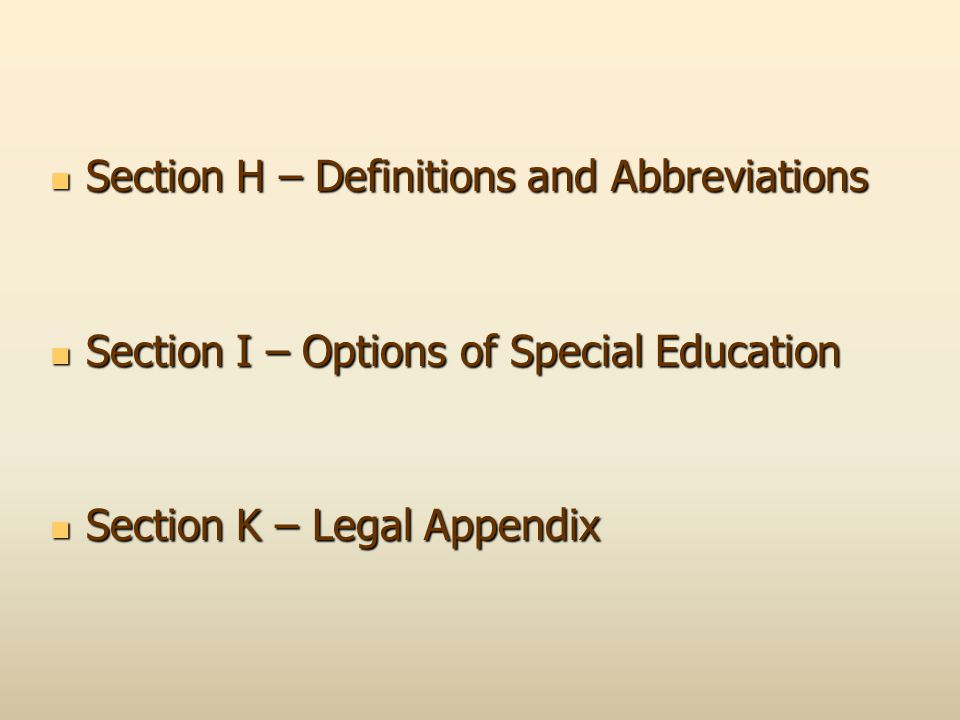 Section H – Definitions and Abbreviations