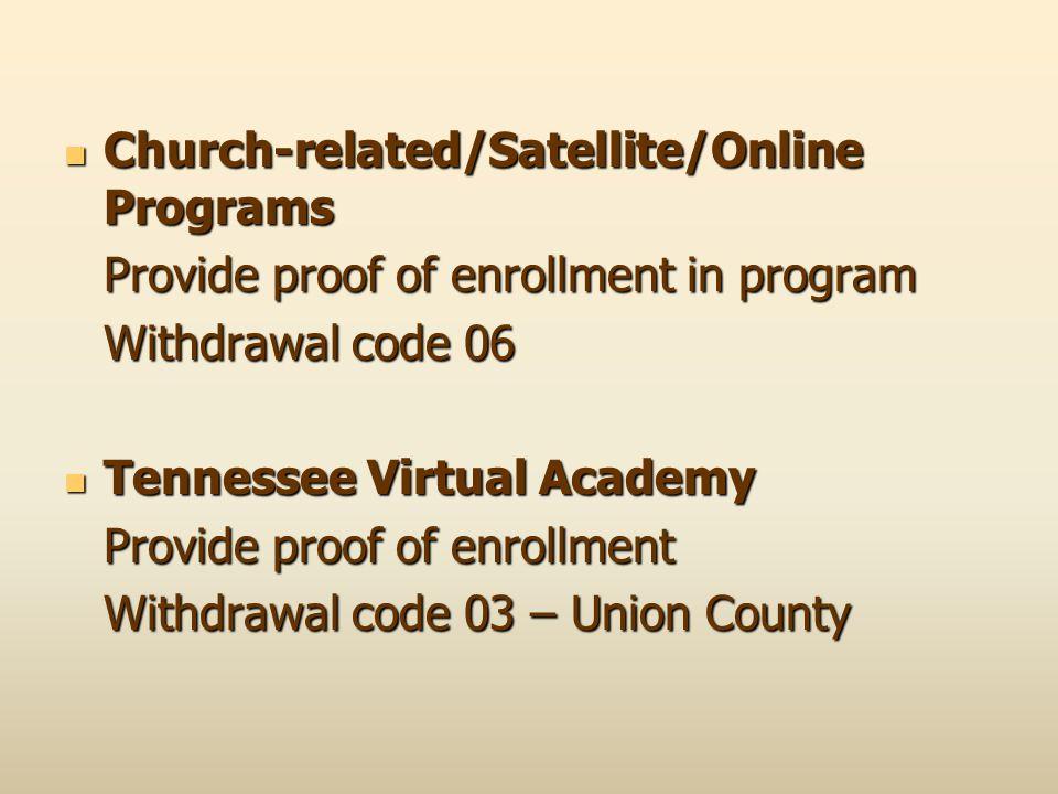Church-related/Satellite/Online Programs