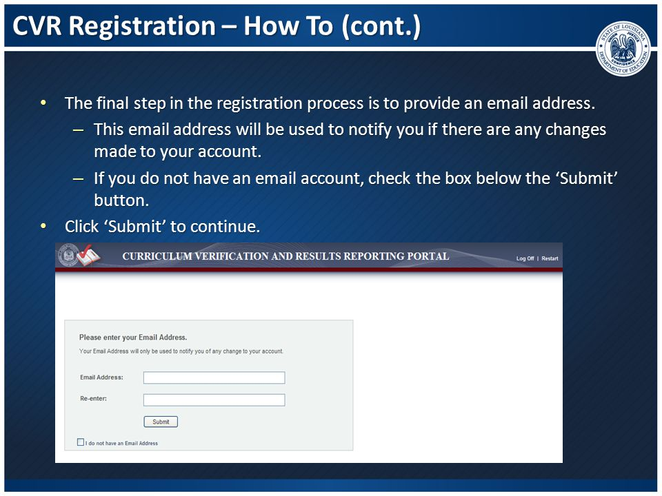 CVR Registration – How To (cont.)