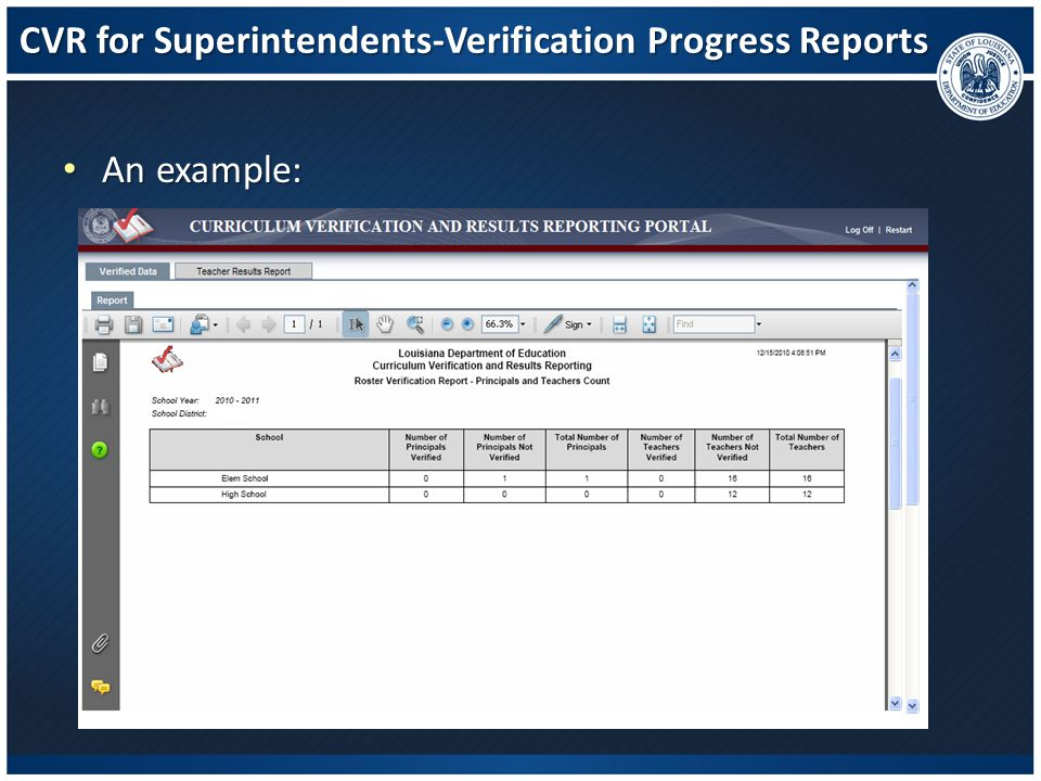 CVR for Superintendents-Verification Progress Reports