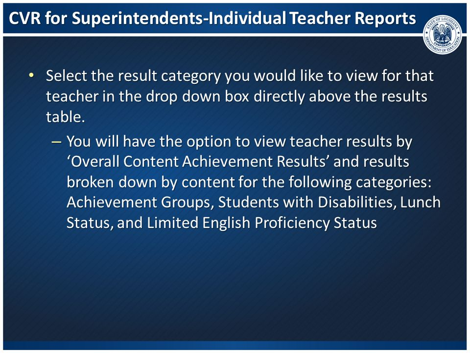 CVR for Superintendents-Individual Teacher Reports