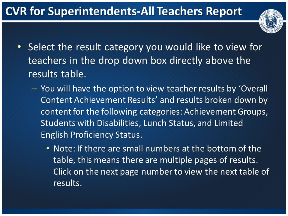 CVR for Superintendents-All Teachers Report