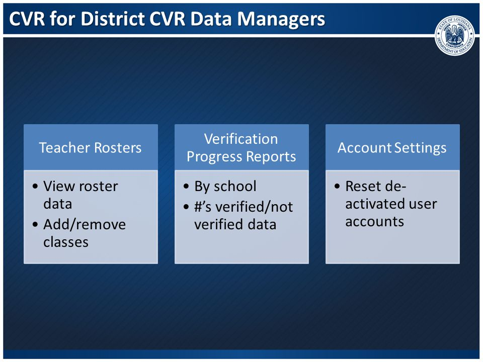 CVR for District CVR Data Managers
