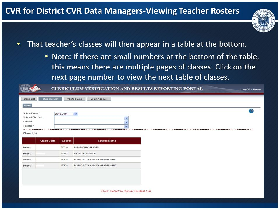 CVR for District CVR Data Managers-Viewing Teacher Rosters