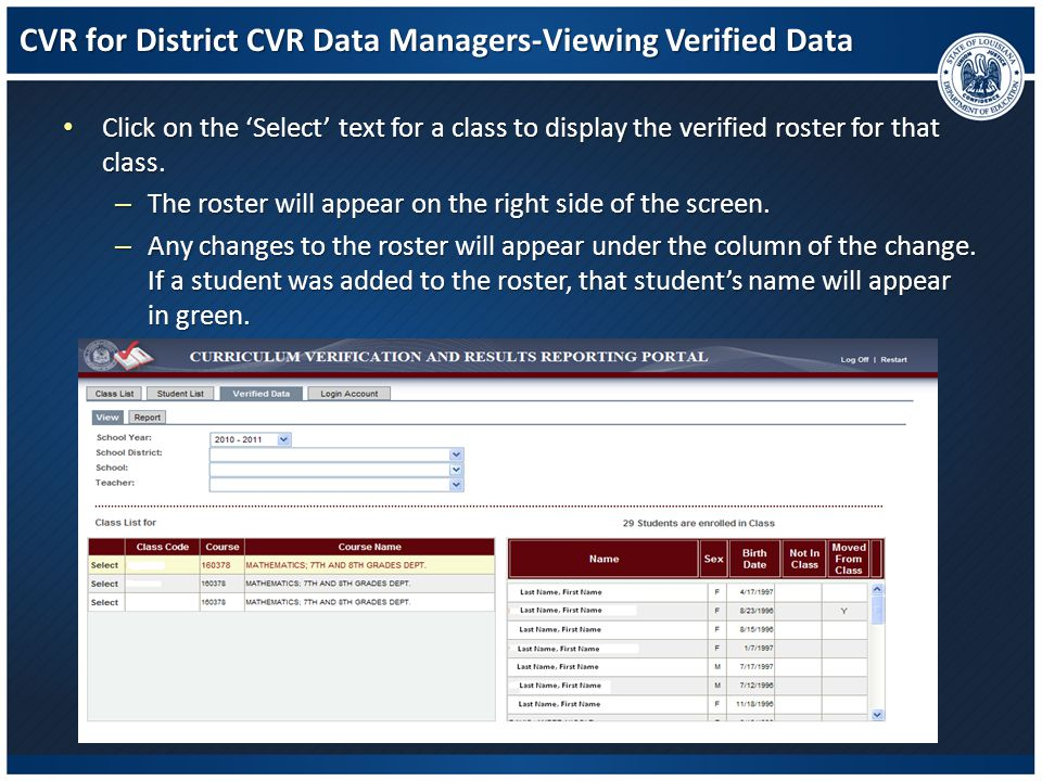 CVR for District CVR Data Managers-Viewing Verified Data