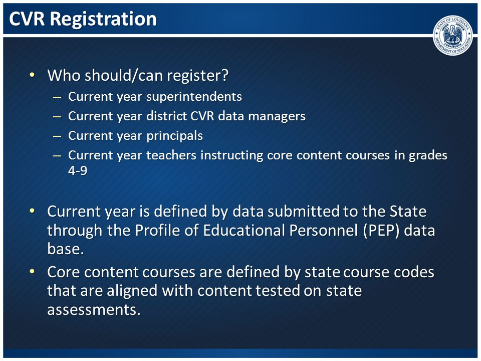 CVR Registration Who should/can register