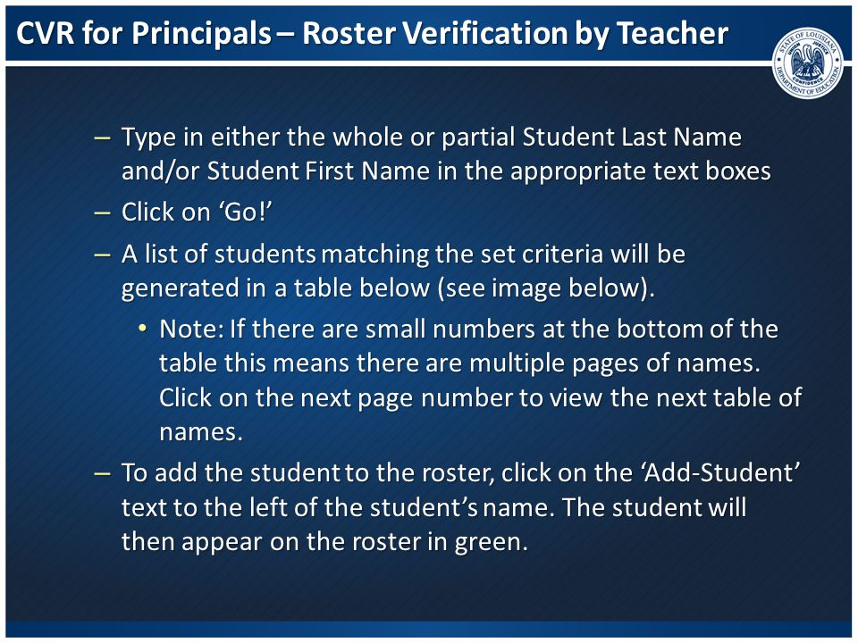 CVR for Principals – Roster Verification by Teacher