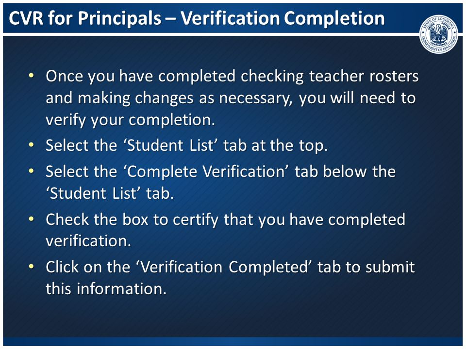 CVR for Principals – Verification Completion