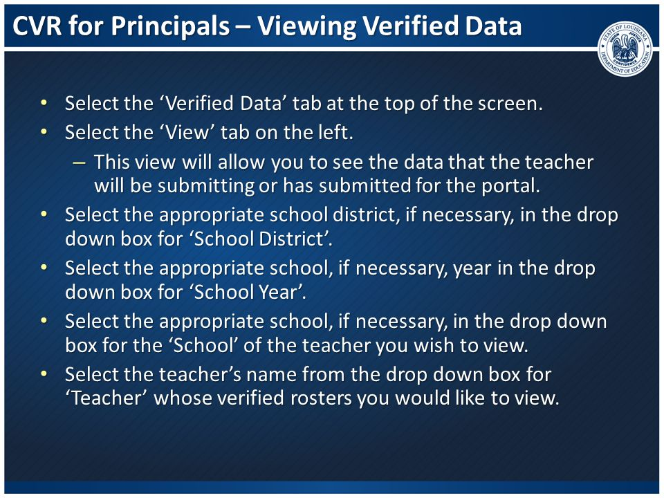 CVR for Principals – Viewing Verified Data