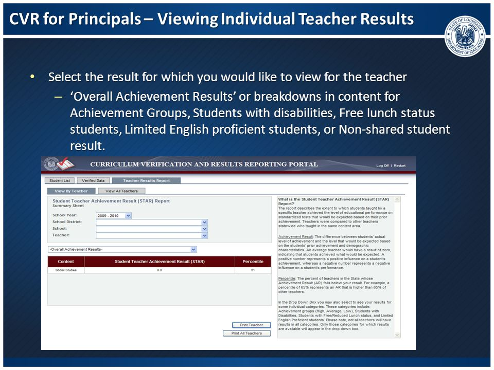 CVR for Principals – Viewing Individual Teacher Results