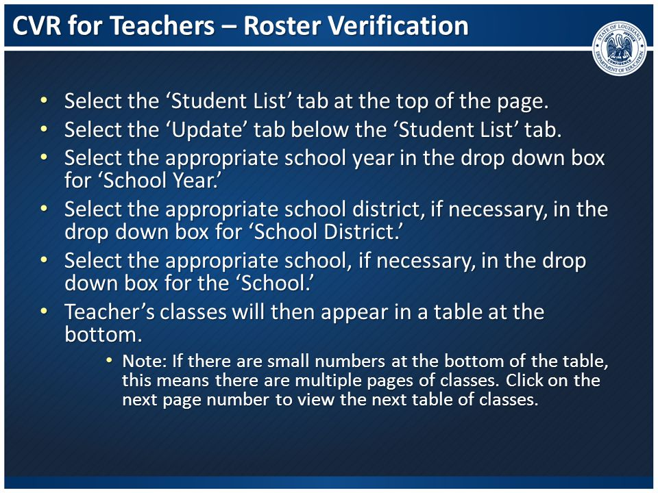 CVR for Teachers – Roster Verification