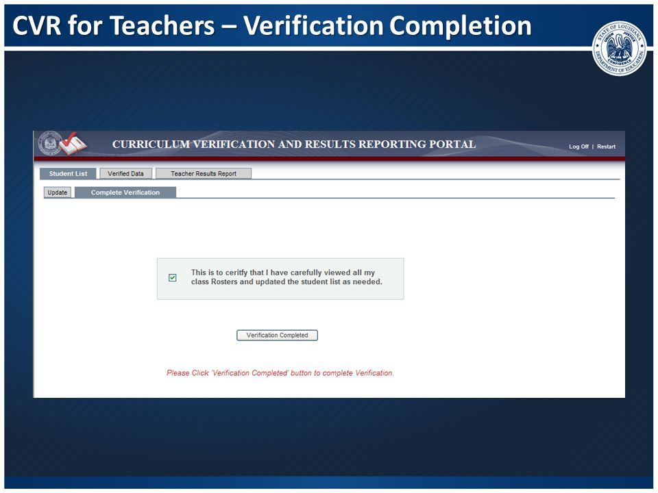 CVR for Teachers – Verification Completion