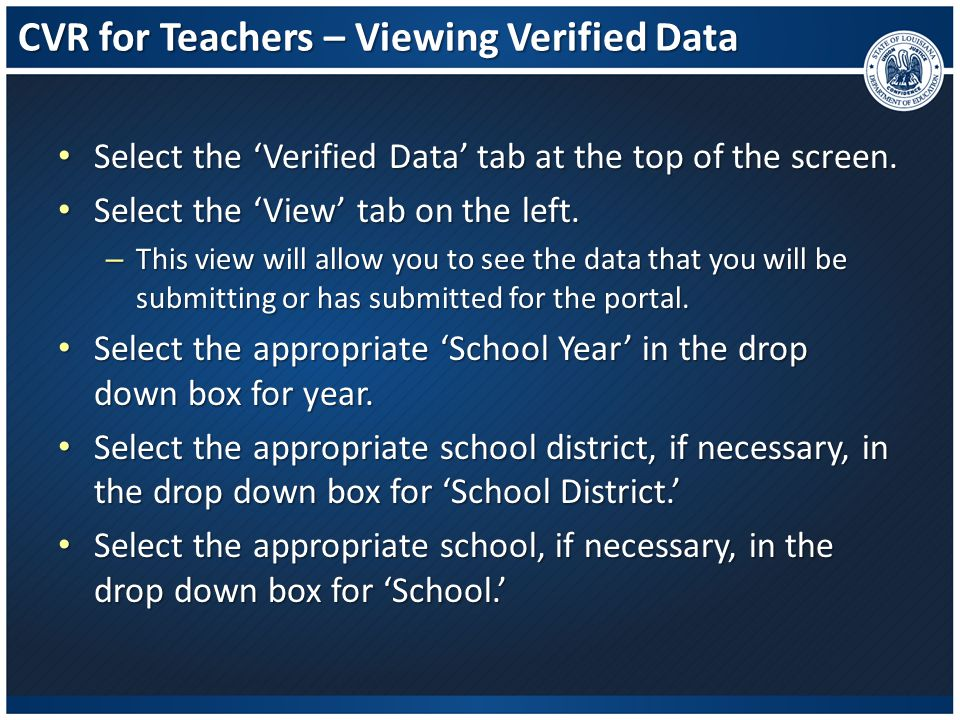 CVR for Teachers – Viewing Verified Data