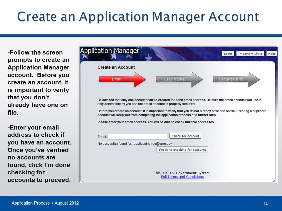 Create an Application Manager Account