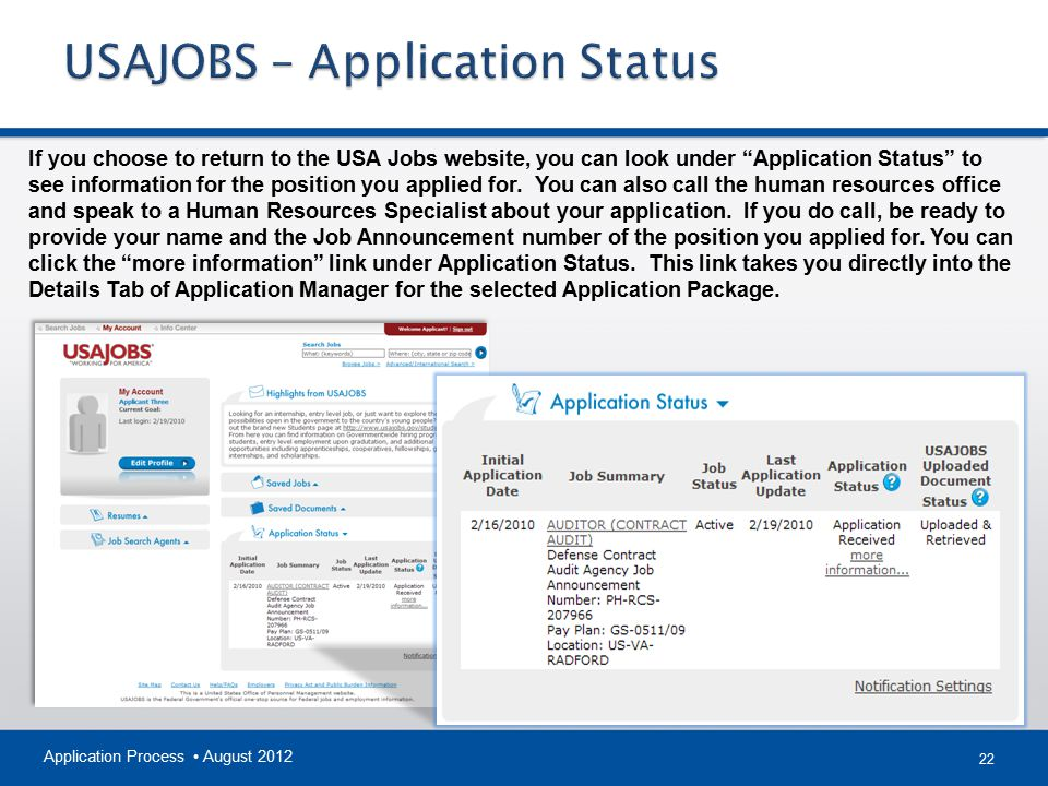 USAJOBS – Application Status