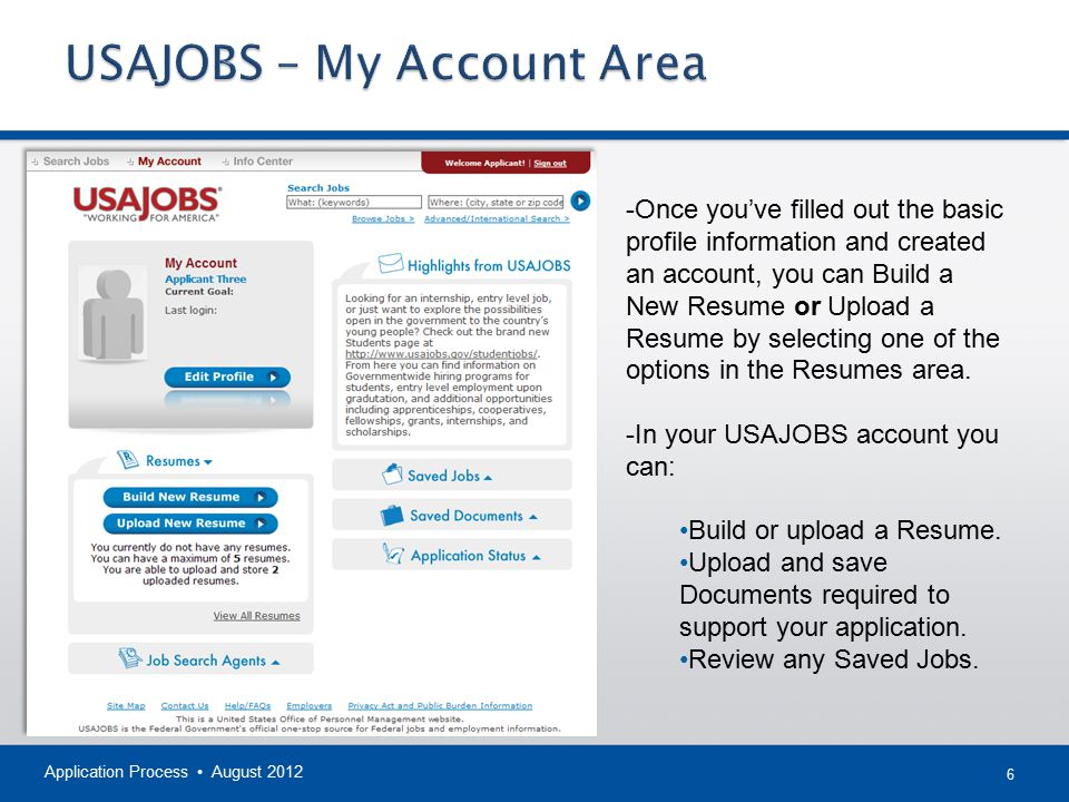 USAJOBS – My Account Area