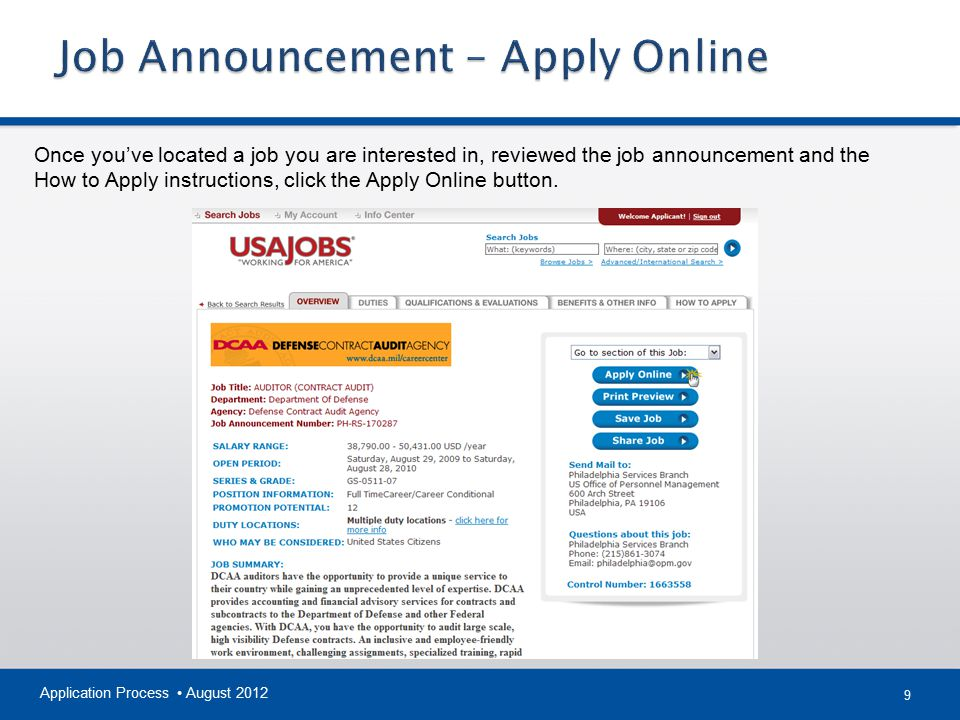 Job Announcement – Apply Online