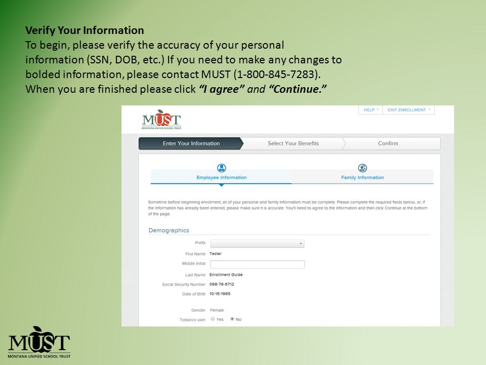 Verify Your Information