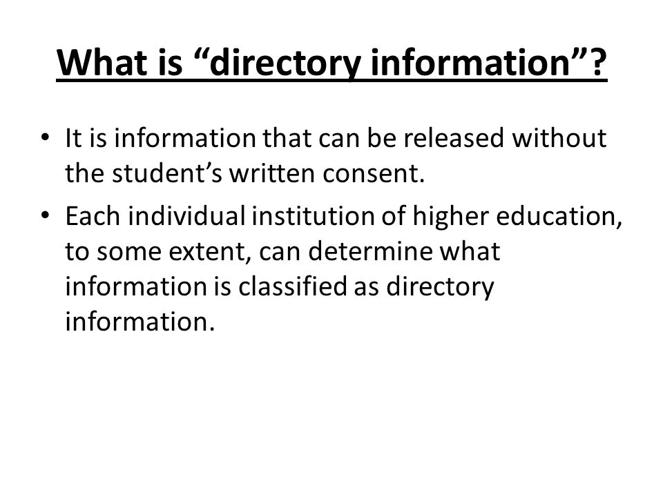 What is directory information