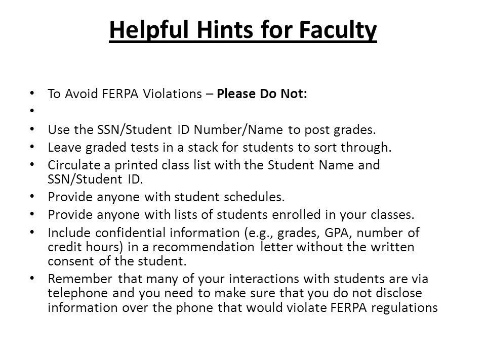 Helpful Hints for Faculty
