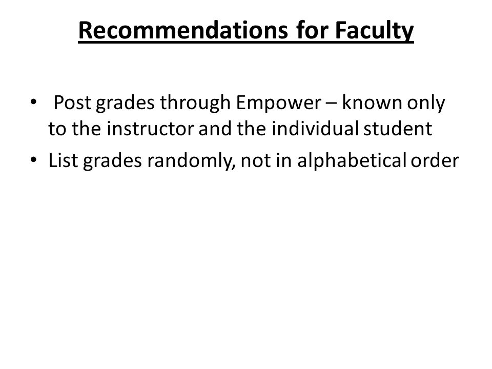 Recommendations for Faculty