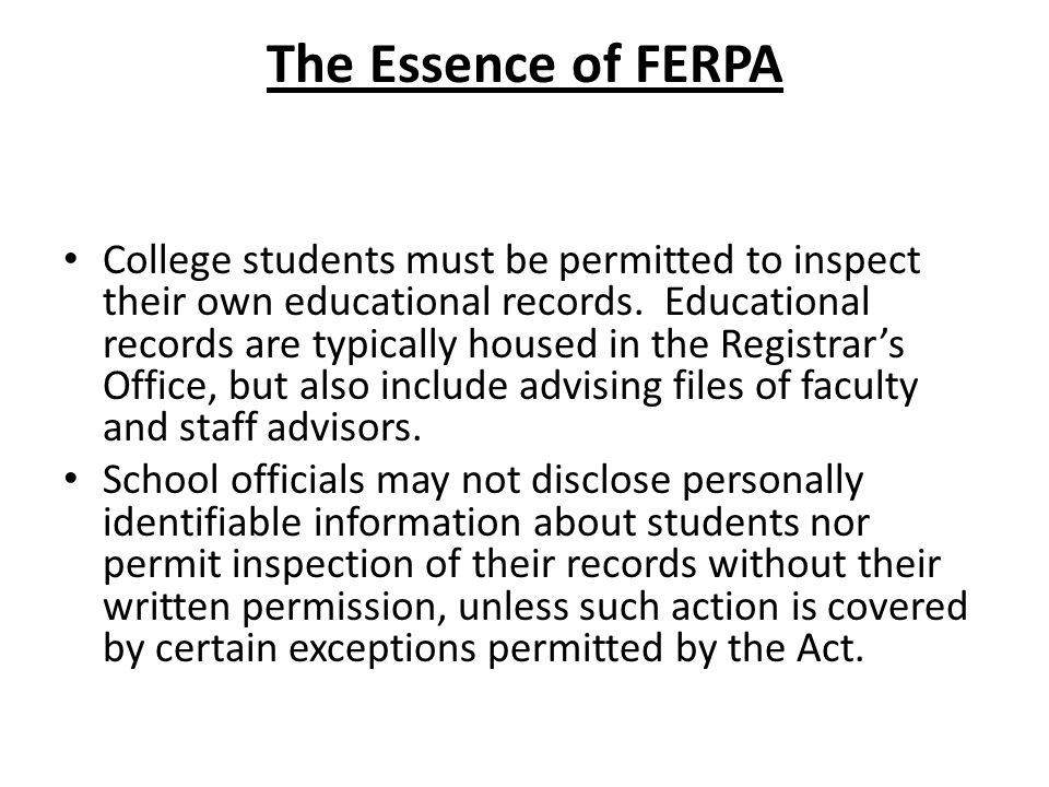 The Essence of FERPA