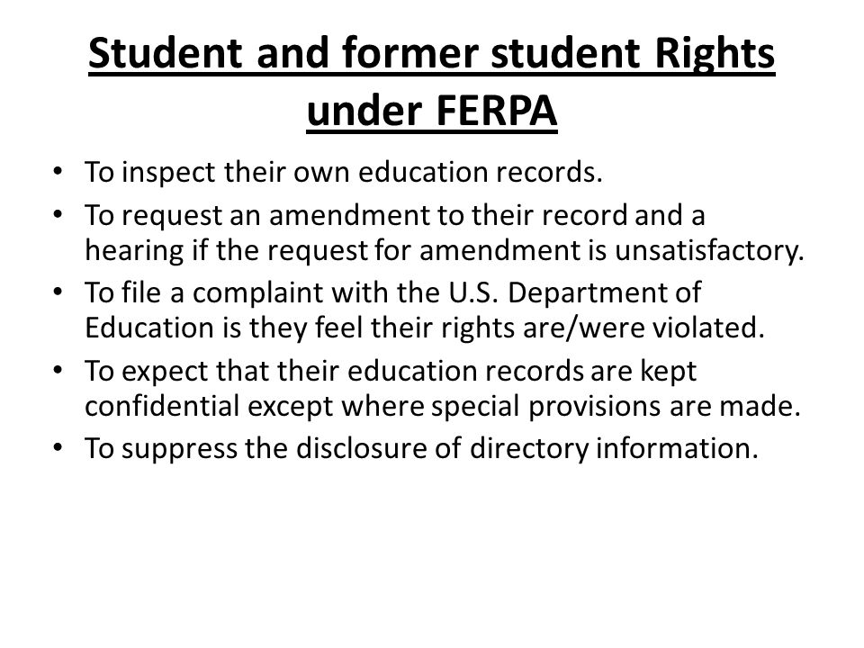 Student and former student Rights under FERPA