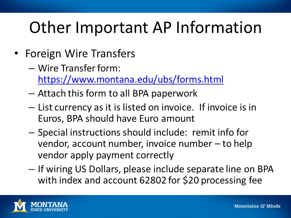 Other Important AP Information