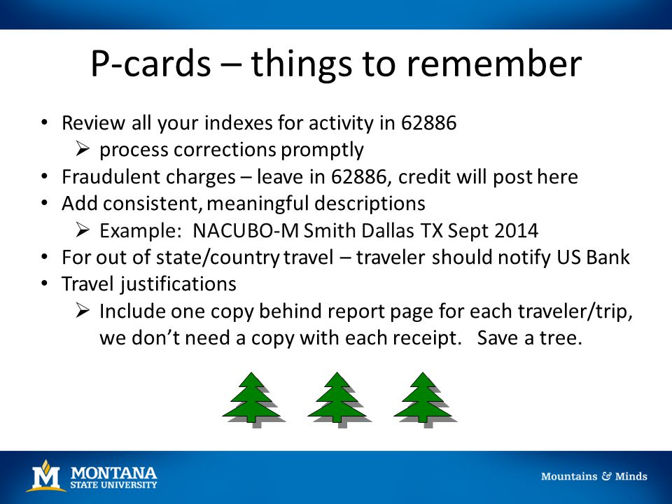 P-cards – things to remember