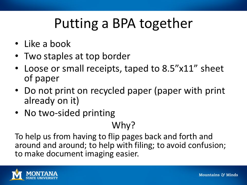 Putting a BPA together Like a book Two staples at top border