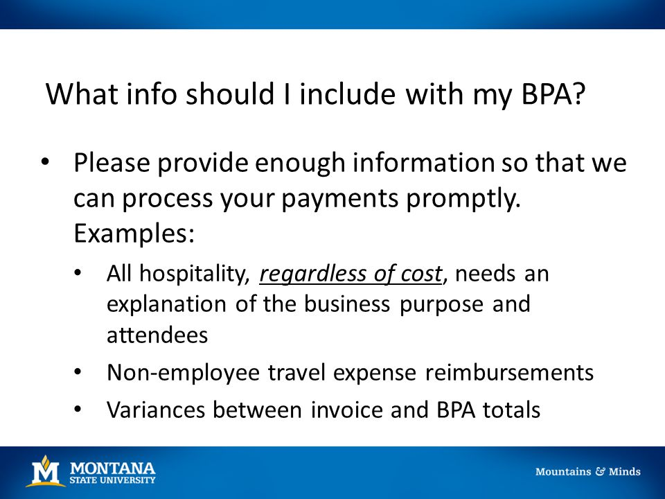 What info should I include with my BPA