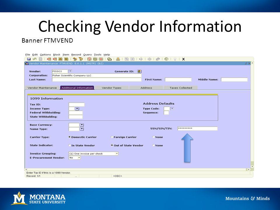 Checking Vendor Information