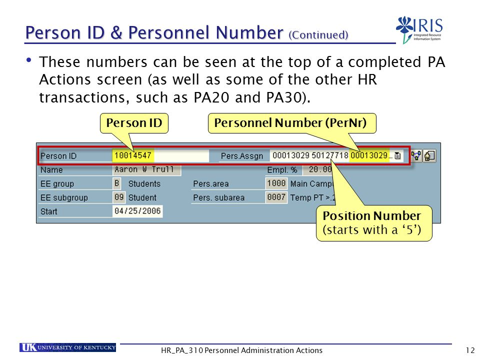 Person ID & Personnel Number (Continued)