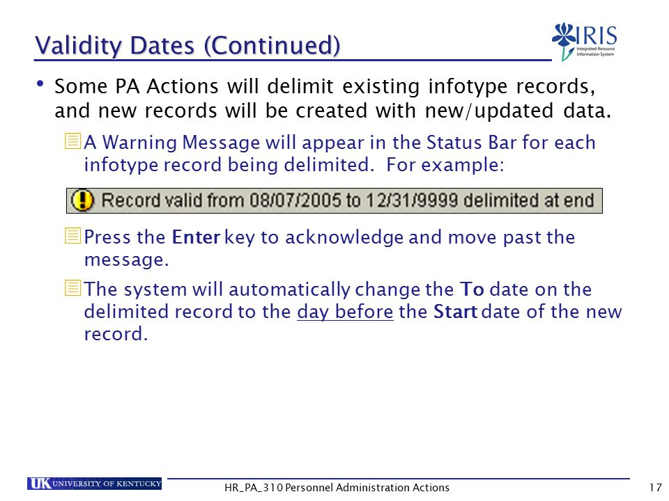Validity Dates (Continued)