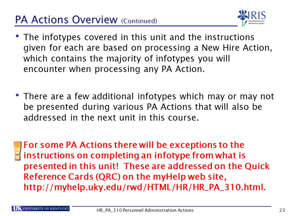 PA Actions Overview (Continued)