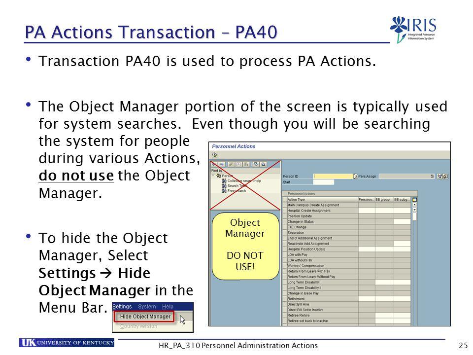 PA Actions Transaction – PA40