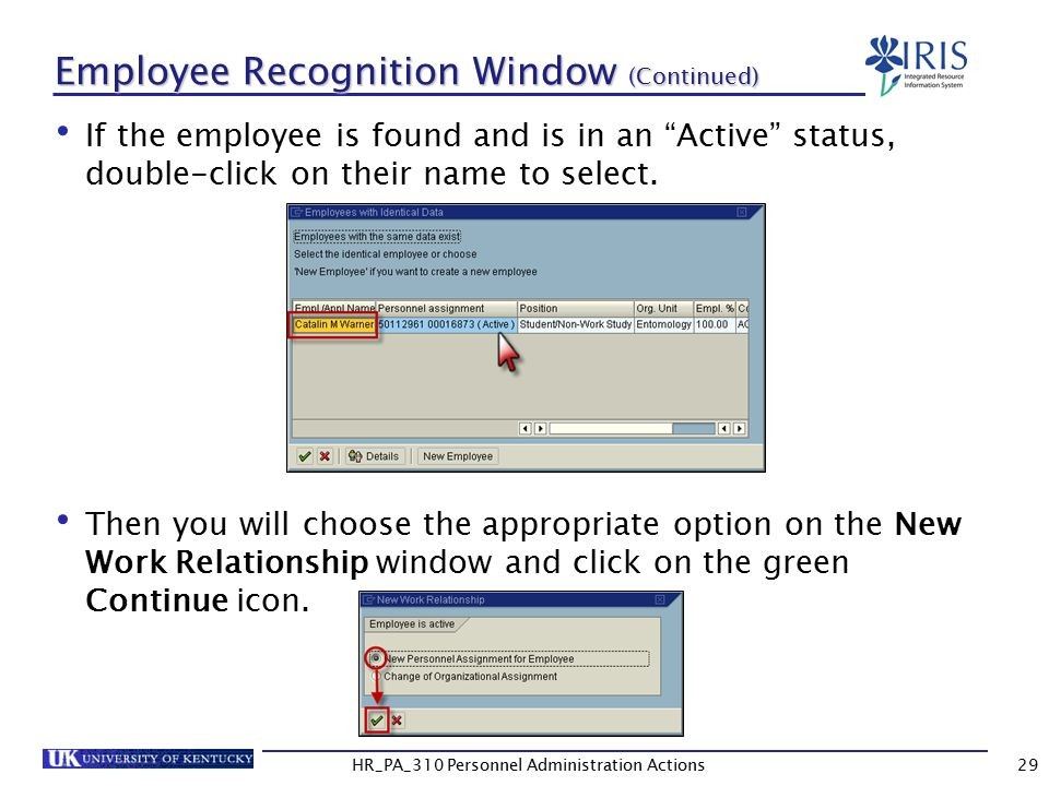 Employee Recognition Window (Continued)