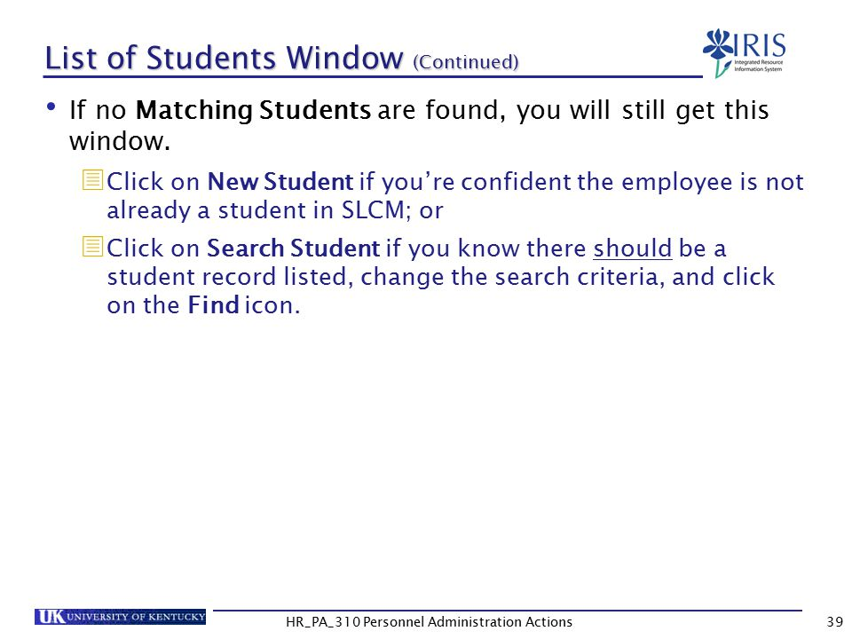 List of Students Window (Continued)