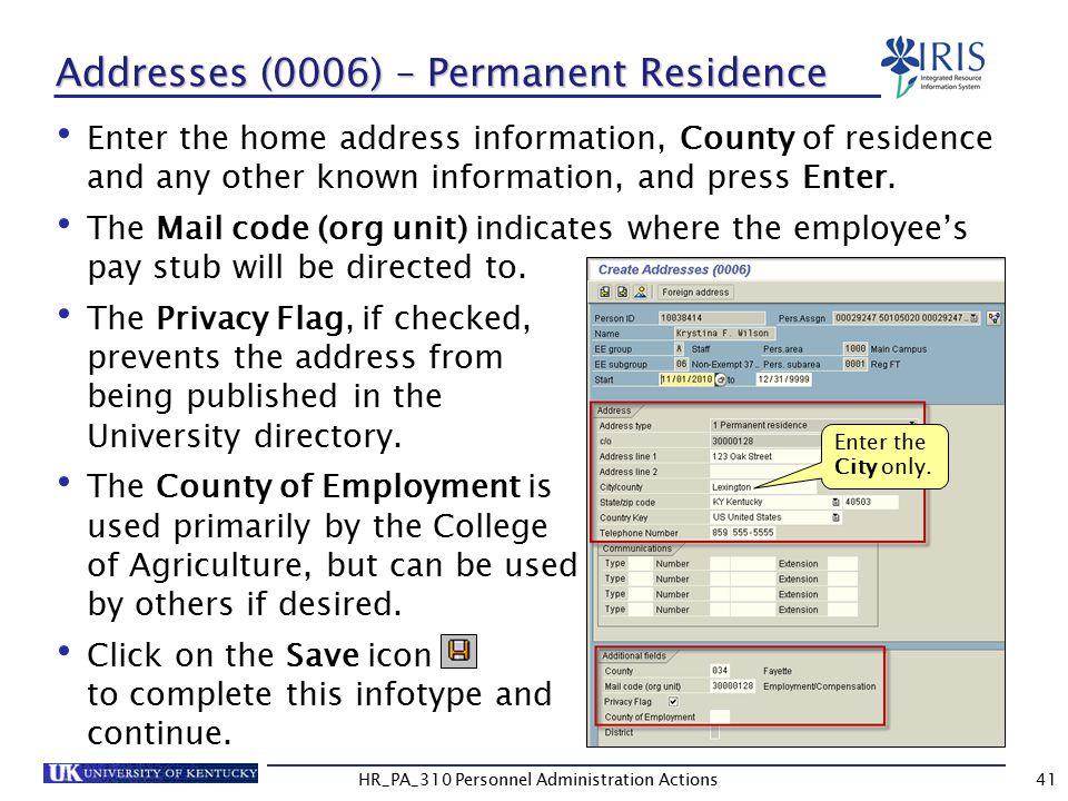 Addresses (0006) – Permanent Residence