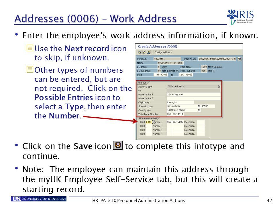 Addresses (0006) – Work Address