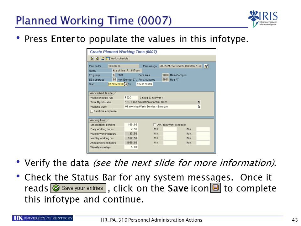 Planned Working Time (0007)