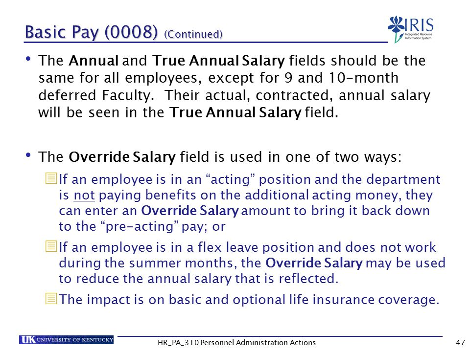 Basic Pay (0008) (Continued)