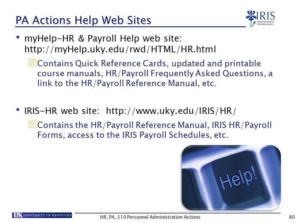 PA Actions Help Web Sites