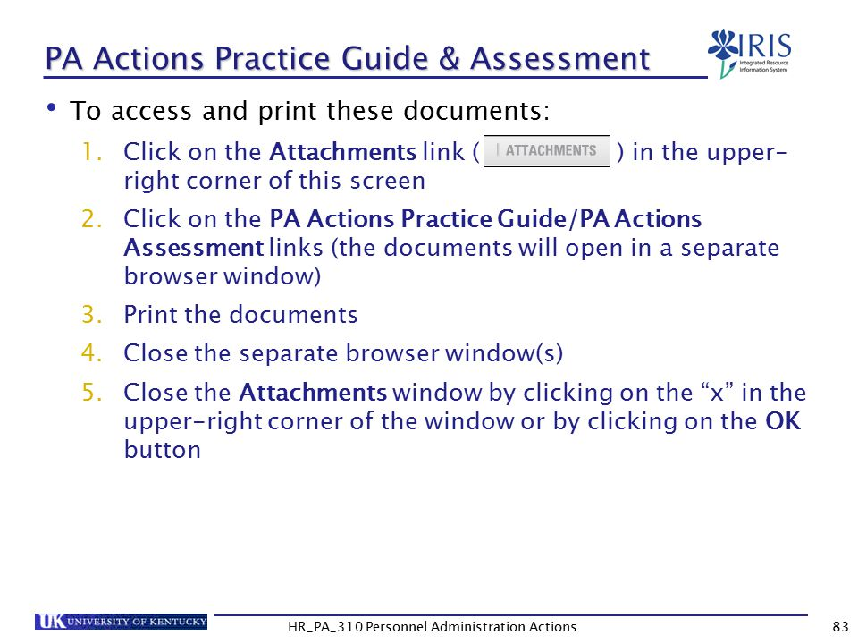 PA Actions Practice Guide & Assessment