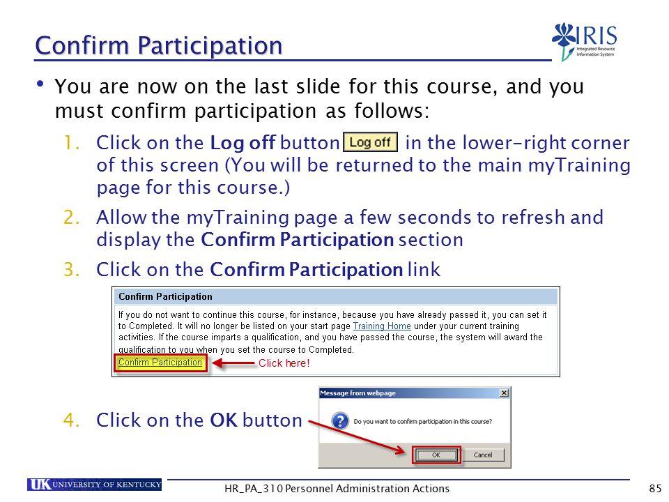 Confirm Participation